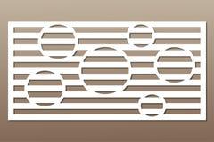 Decoratieve kaart voor knipsel Het patroon van de cirkellijn Laserbesnoeiing Verhouding 1:2 Vector illustratie Royalty-vrije Stock Foto's