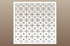 Decoratieve kaart voor knipsel Vierkant herhaal patroon Laserbesnoeiing Verhouding 1:1 Stock Afbeelding