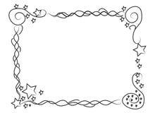 Decoratieve kadergrens met sterren en spiralen Stock Afbeeldingen