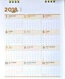Decoratieve kalender van 2018 Stock Afbeeldingen