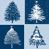 Decoratieve kerstbomen stock illustratie