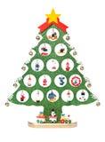 Decoratieve Kerstmis-boom met klein speelgoed royalty-vrije stock fotografie