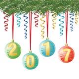 Decoratieve Kerstmisballen met cijfer 2017 op lint, op naaldboomtak op witte achtergrond, vectorgroetenkaart Royalty-vrije Stock Foto