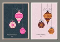 Decoratieve Kerstmiskaart in twee kleurenvarianten royalty-vrije illustratie