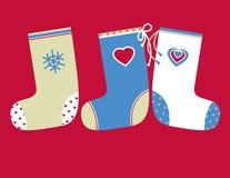 Decoratieve Kerstmissokken Stock Illustratie