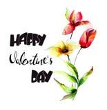Decoratieve Lelie en Tulpenbloemen met titel Gelukkige Valentijnskaarten D Royalty-vrije Stock Afbeelding