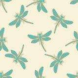 Decoratieve libellen naadloze achtergrond Royalty-vrije Stock Afbeeldingen
