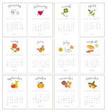 Decoratieve maandelijkse kalenders Royalty-vrije Stock Fotografie
