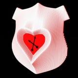 Decoratieve muurklok die liefde symboliseren Hart in het centrum van het wapenschild 3D Illustratie Royalty-vrije Stock Fotografie