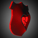 Decoratieve muurklok die liefde symboliseren Hart in het centrum van het wapenschild 3D Illustratie Stock Afbeelding