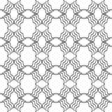 Decoratieve Naadloze Bloemen Geometrische Zwarte & Witte Patroonachtergrond Stock Foto's