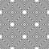 Decoratieve Naadloze Bloemen Geometrische Zwarte & Witte Patroonachtergrond Stock Foto