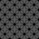 Decoratieve Naadloze Bloemen Geometrische Zwarte & Witte Patroonachtergrond Bloemen, meetkunde vector illustratie
