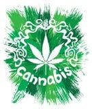 Decoratieve ontwerp van het cannabis het witte blad Royalty-vrije Stock Afbeelding