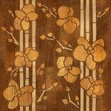 Decoratieve Orchidee - Binnenlands behang - houten structuur royalty-vrije illustratie