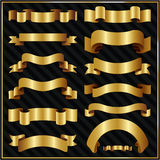 Decoratieve overladen gouden linten Stock Foto