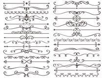 Decoratieve paginaverdeler De uitstekende decorlijnen, de het kaderlijn van het luxehuwelijk en de overladen wervelingsverdelers  royalty-vrije illustratie