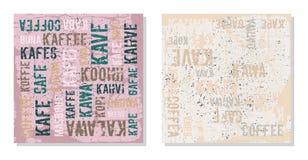 Decoratieve panelenkoffie in verschillende talen Stock Afbeeldingen