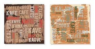 Decoratieve panelenkoffie in verschillende talen Stock Foto