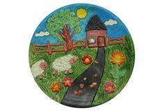 Decoratieve plaat Kinderenart. Oekraïense stijl Royalty-vrije Stock Foto's