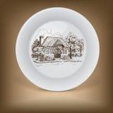 Decoratieve plaat met tekening van oud plattelandshuisje Stock Foto