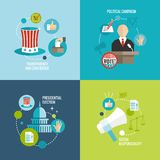 Decoratieve reeks van verkiezingenpictogrammen de vlak Stock Foto