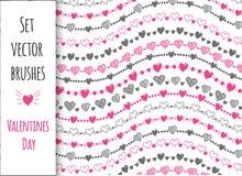 Decoratieve reeks 10 vectorborstels De Dag van Valentine, hart Royalty-vrije Stock Foto