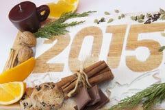 Decoratieve registratieinschrijving 2015 gemaakt van bloem Stock Foto's