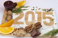 Decoratieve registratieinschrijving 2015 gemaakt van bloem Stock Afbeelding