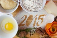 Decoratieve registratieinschrijving 2015 gemaakt van bloem Stock Afbeeldingen