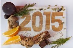 Decoratieve registratieinschrijving 2015 gemaakt van bloem Stock Fotografie