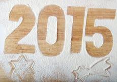 Decoratieve registratieinschrijving 2015 gemaakt van bloem op een hout Stock Foto