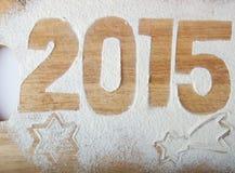 Decoratieve registratieinschrijving 2015 gemaakt van bloem op een hout Royalty-vrije Stock Afbeelding