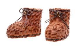 Decoratieve rieten laarzen stock fotografie