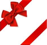 Decoratieve rode boog met diagonaal lint op de hoek Vectorboog voor paginadecor Royalty-vrije Stock Afbeelding