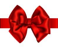 Decoratieve rode boog met horizontaal lint Vectorboog voor paginadecor Royalty-vrije Stock Afbeelding