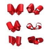 Decoratieve rode die bogen op witte achtergrond worden geïsoleerd Royalty-vrije Stock Fotografie