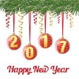 Decoratieve rode Kerstmisballen met cijfer 2017 op lint, op naaldboomtak op witte achtergrond, vectorgroetenkaart Royalty-vrije Stock Foto's