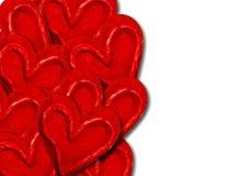 Decoratieve rode liefdeharten Stock Fotografie