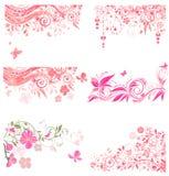Decoratieve roze grenzen Stock Afbeeldingen