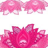 Decoratieve roze Lotus-bloem met bladeren Royalty-vrije Stock Afbeelding