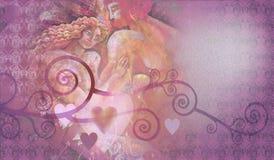 Decoratieve samenstelling van harten en minnaars Stock Foto
