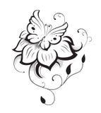 Decoratieve samenstelling van krullen, bloem en gesierde samenvatting Stock Foto's