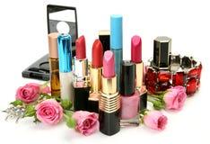 Decoratieve schoonheidsmiddelen en rozen Stock Afbeeldingen
