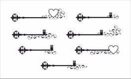 Decoratieve sleutel en bloem grafisch patroon Stock Afbeeldingen