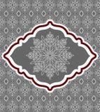 Decoratieve sneeuwvlok die op achtergrondpatroon wordt geplaatst Stock Foto