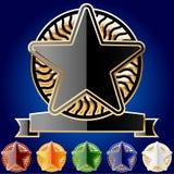 Decoratieve sterreeks gouden en verschillende kleuren Royalty-vrije Stock Afbeelding