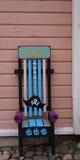 Decoratieve stoel buiten de bouw Stock Fotografie