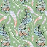 Decoratieve textuur met blauwe firebird Stock Foto