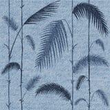 Decoratieve tropische bladeren - Binnenlands behang - jeanstextuur Royalty-vrije Stock Afbeeldingen